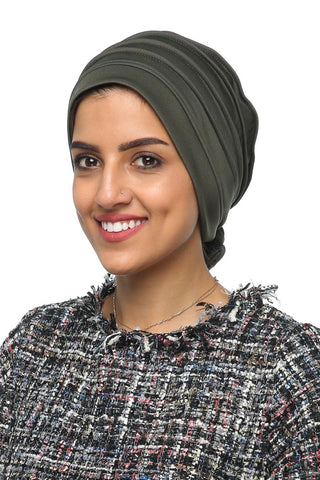 Lycra Fitted Pleat Turban - Olive - Gingerlining