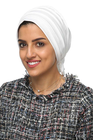 Lycra Fitted Pleat Turban - White - Gingerlining