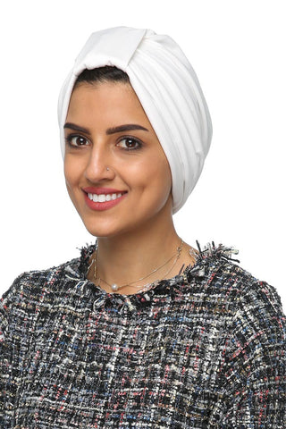 Lycra Tab Turban - White - Gingerlining