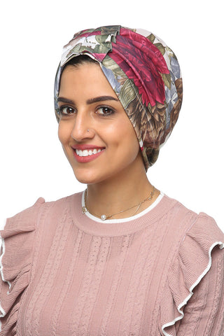 Lycra Fan Turban - Floral Green / Pink - Gingerlining (477813112870)