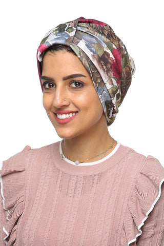 Lycra Tab Turban - Floral Green/Pink - Gingerlining (477763895334)