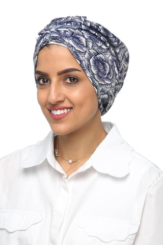 Lycra Fan Turban - Floral Navy / White - Gingerlining
