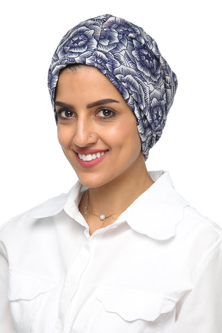 Lycra Tab Turban - Floral Navy / White - Gingerlining