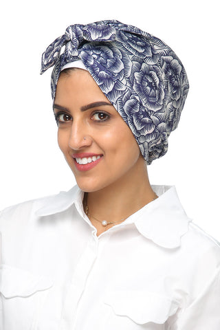 Lycra Turban Turban - Floral Print (White/Navy) - Gingerlining