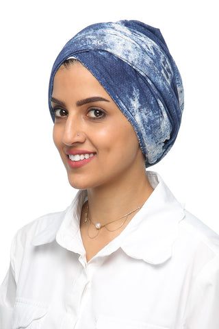 Multi-way Wrap Turban - Denim/White - Gingerlining