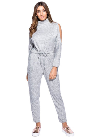 High Neck Cold Shoulder Loungewear Onesie- Grey - Gingerlining