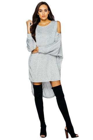 Draped Cold Shoulder Lurex Batwing Longline Top/Dress- Silver - Gingerlining