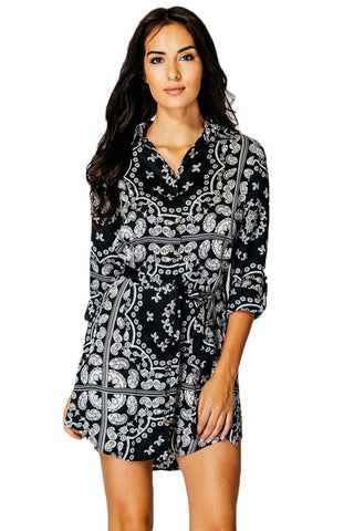 Tile Print Button Down Satin Shirt Dress- Black/White