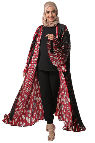 Cherry Blossom Pleated Abaya - Black and Red