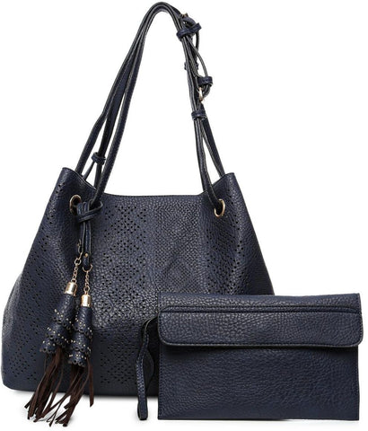 Olivia Tote Bag and Wristlet Purse Set for Women - Faux Leather, Navy Blue