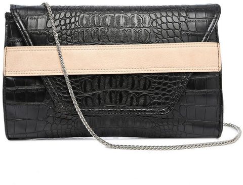 Madison Clutch for Women - Faux Leather, Black - Gingerlining