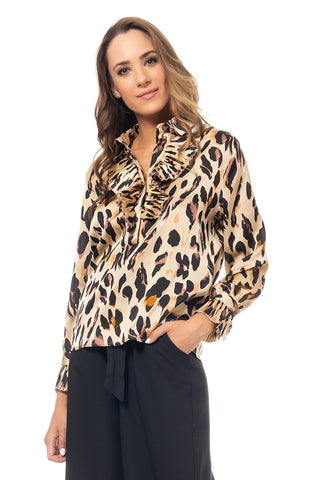 Animal Print Blouse Crinkle Neck - Brown (4368604725381)