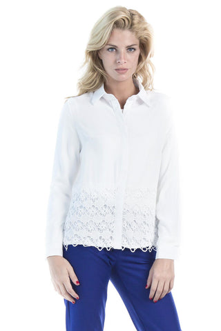 Blouse with Floral Details on Hem- White