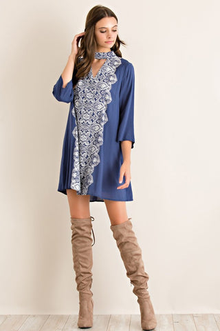 Short Mock Neck Dress - Navy