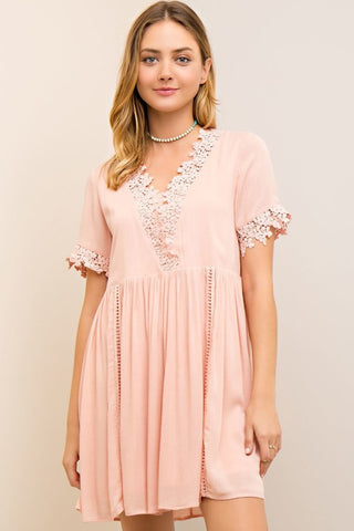 Crochet Trim Baby Doll Dress - Light Peach - Gingerlining