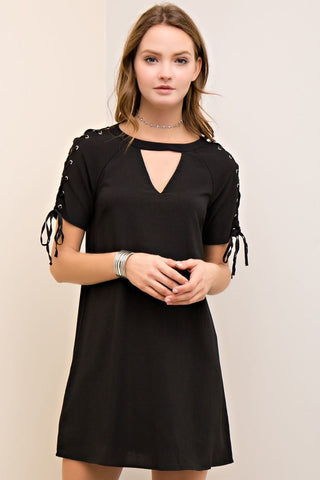 Self-Tie Shift Dress - Black - Gingerlining