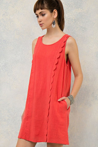 Scallop Trim Scoop Neck Dress - Tomato - Gingerlining