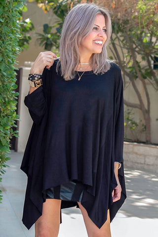 Long Sleeves Poncho Top - Black (4996888985733)