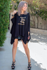 3/4  Sleeves Poncho Top - Black/All You Need Is Love (4565423489157)