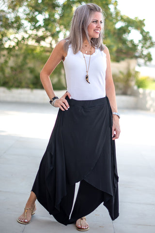 Overlay Tie Harem Pants With Elastic Waist - Black (4565329117317)
