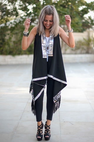 Menna Coverup - Style 1 / Black & Silver (4565461074053)