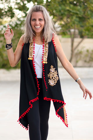 Menna Coverup - Style 2 / Black & Red