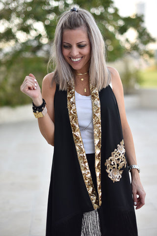 Menna Coverup - Style 3 / Black & Gold