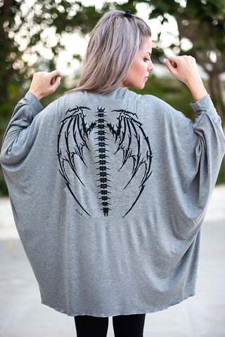 Batwing Sleeve Cotton Cardigan With skeleton Wings Print - Grey/Black