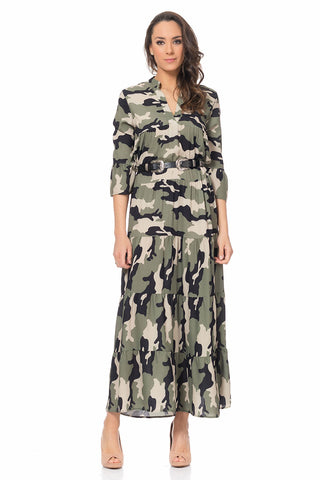 Camouflage Print Maxi Dress With V Neck And 3/4 Sleeves - Belt Included
