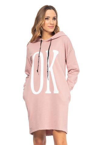 Ok! Over-sized Hoodie Dress / Pink