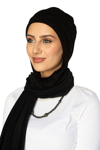 Scarfy Drape Turban - Black (4039285735468)