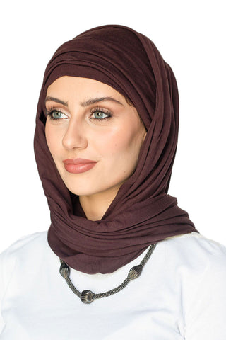 Scarfy Drape Turban- Dark Brown