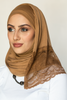 One Piece Full Cover Lace Turban - Camel