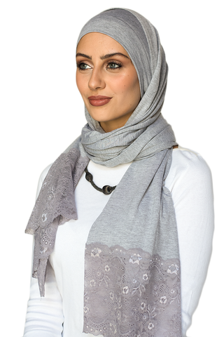 One Piece Full Cover Lace Turban - Cloudy Grey/ Lilac Lace (1706725310508)