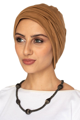Suede Simple Drape Turban - Camel