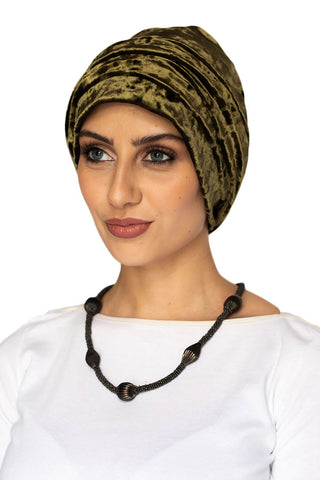Velvet Simple Drape Turban - Olive (1607205355564)