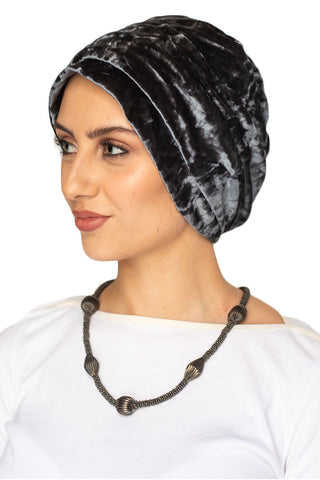 Velvet Simple Drape Turban - Steel Blue