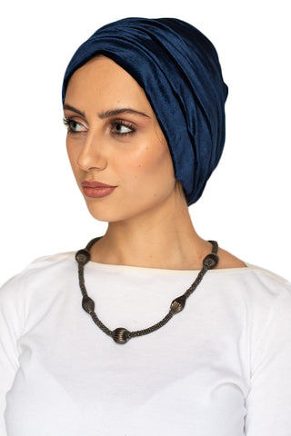 Velvet Simple Drape Turban - Scarlet Blue