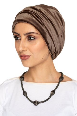 Velvet Simple Drape Turban - Caramel