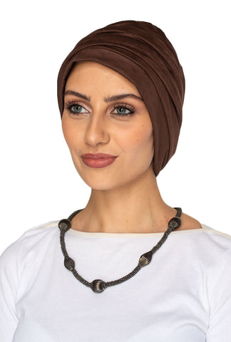 Suede Simple Drape Turban - Brown (1607201783852)