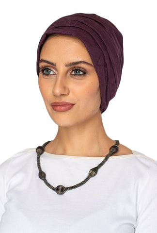 Suede Simple Drape Turban - Plum (1605627150380)