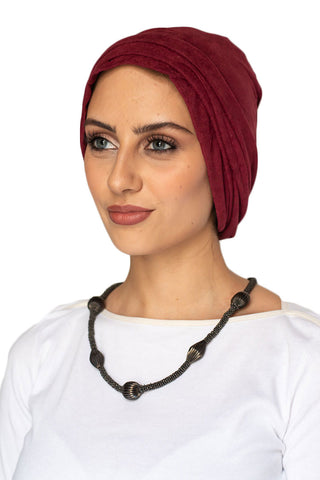 Suede Simple Drape Turban - Ruby