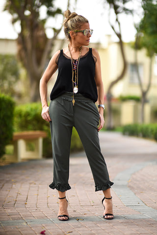 Quarter Length Frill Pant - Khaki - Gingerlining