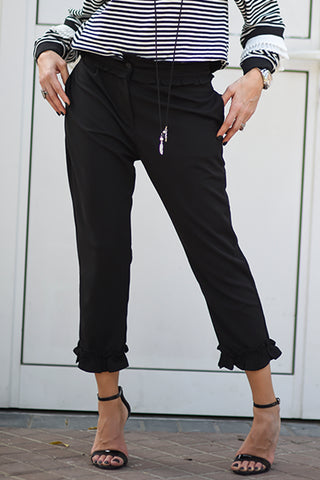 Quarter Length Frill Pant - Black