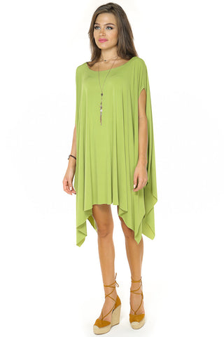 High Low Dolman Sleeves Dress/Top- Green - Gingerlining