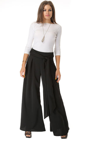 Wide Leg Box Pleat Pants- Black - Gingerlining