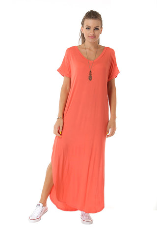 Jersey Knit Maxi Tee Dress- Orange - Gingerlining