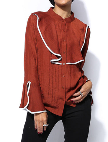 V Ruffle Layer Shirt - Rust