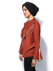V Ruffle Layer Shirt - Rust - Gingerlining