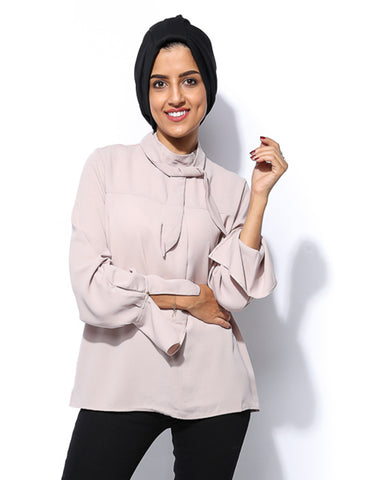 Simple Top with Neck Tie - Beige - Gingerlining